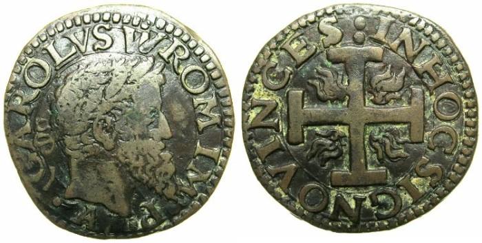 World Coins - ITALY.Kingdom of NAPLES.Charles V Holy Roman Emperor AD 1516-1556.AE.3 Cavalli.