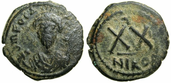 Ancient Coins - BYZANTINE EMPIRE.Focas AD 602-610.AE.Half Follis.Mint of Nicomedia.Regnal year Two