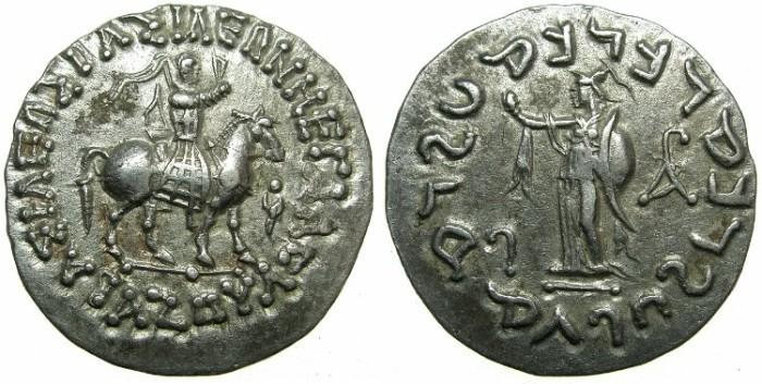 Ancient Coins - INDO-SKYTHIAN.Azes circa 58-19 BC.AR.Tetradrachm.~#~.Athena standing.