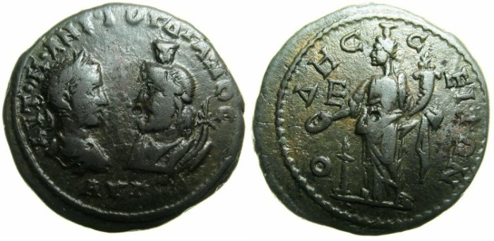 Ancient Coins - MOESIA INFERIOR.ODESSUS.Gordian III ( AD 238-244) and Serapis AD 238-241.AE.5 Assaria.~~~Concordia ( Homonia ) standing