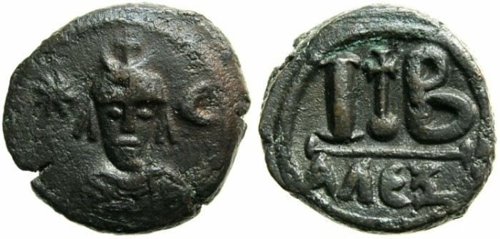 Ancient Coins - EGYPT.ALEXANDRIA.BYZANTINE OR PERSIAN occupation .AE.12 Nummia, heavy issue.