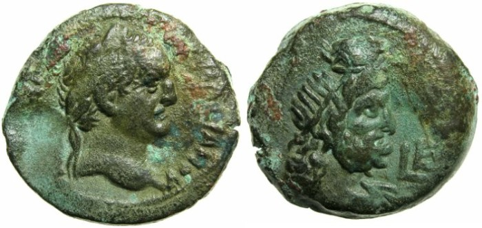Ancient Coins - EGYPT.Vespasian AD 69-78.AE.Diobol.Struck AD 72/73.Mint of ALEXANDRIA.~#~.Bust of Serapis.