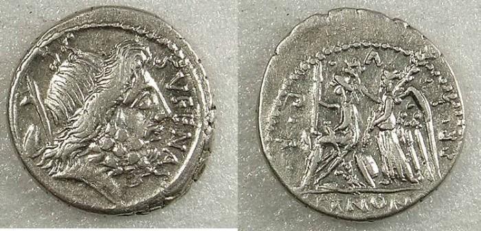 Ancient Coins - ROME Republic M Nomus Sufenas 59 BC AR Denarius