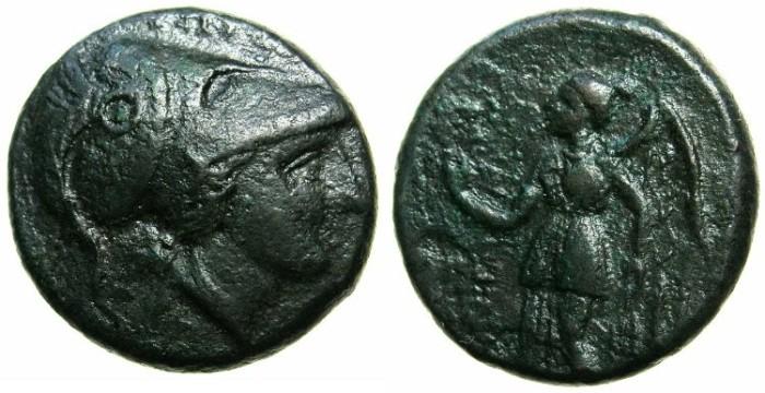 Ancient Coins - BRUTTIUM.HIPPONIUM.Circa 296 BC.AE.22.4mm.~~~Athena wearing corinthian helmet.~#~.Nike standing.