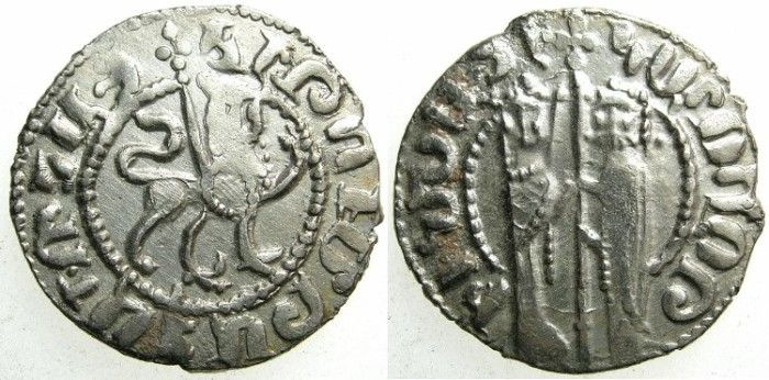 Ancient Coins - CILICIAN ARMENIA.Hetoum I AD 1226-1270 and Zabel ( died 1252 ).AR.Tram.