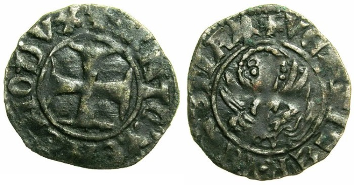 Ancient Coins - CRUSADER.GREECE under VENICE.Antonio Venier AD 1382-1400.Bi.Tornesello.
