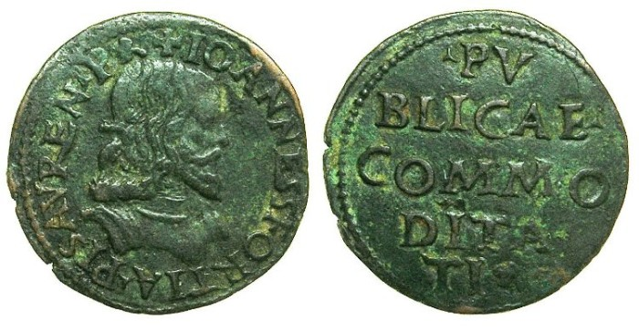 Ancient Coins - ITALY.PESSARO.Giovanni Sforza AD 1489-1500 and 1503-1510.AE.Denaro ( or Soldo )