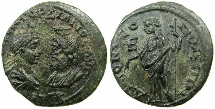 Ancient Coins - MOESIA INFERIOR.DIONYSOPOLIS.Gordian III and Serais AD 238-244.AE.5 Assaria.~#~.Hera standing.