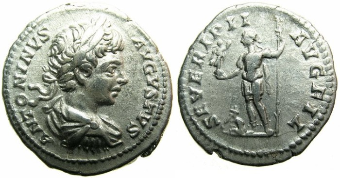 Ancient Coins - ROMAN.Caracalla Augustus AD 198-209.AR.Denarius undated c.AD 199-200.~~~Caracalla standing holding Victory, captive at feet.