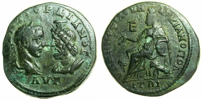 Ancient Coins - MOESIA INFERIOR.MARCIANOPOLIS.Gordian III and Serapis AD 238-244.AE.5 Assaria.~#~Kybele enthroned.