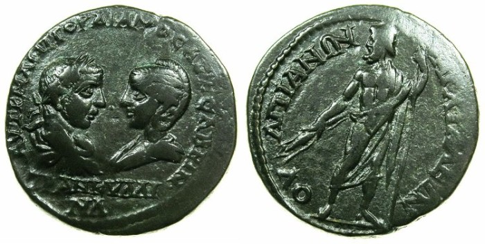 Ancient Coins - THRACE.ANCHIALUS.Gordian III and Tranquillina from AD 241-244.AE. 27mm.~#~.Zeus standing.