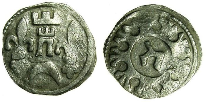 Ancient Coins - HUNGARY.Bela IV AD 1235-1270.AR.Dinar.~#~.Hebrew letter HET.