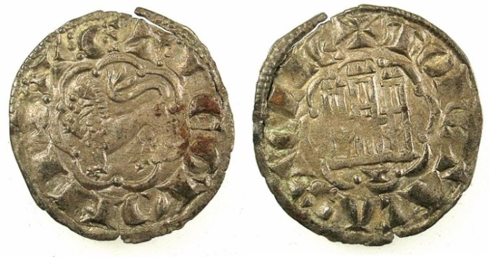 World Coins - SPAIN.CASTILE AND LEON.Alfonso X 1252-1284.Bi.Denaro.Cuenca mint