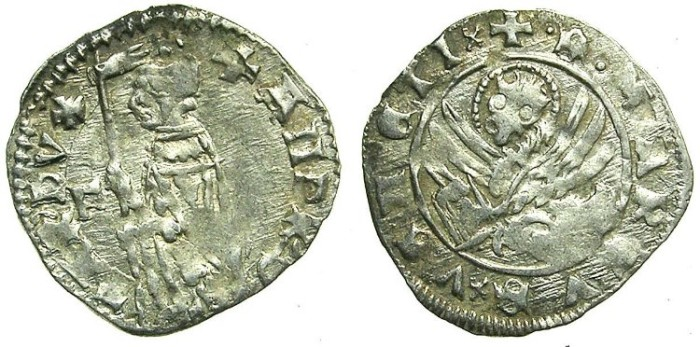 Ancient Coins - ITALY.VENICE.Andrea Contarini AD 1368-1382.AR.Soldino.2nd Type.1st.issue.Sigla F