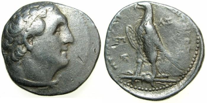 Ancient Coins - PTOLEMAIC EMPRE.PHOENICIA.JOPPA mint.Ptolemy II Philadelphus 285-246 BC. AR.Tetradrachm.struck circa 249/8 BC.~*~*~*RARE MINT~*~*~*