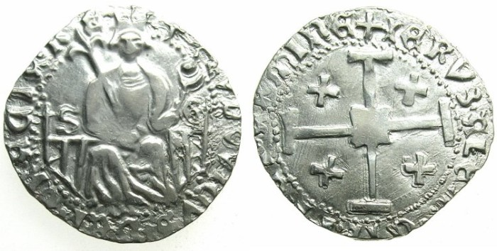 Ancient Coins - CRUSADER.CYPRUS.Louis of Savoy 1458-1460.AR.Gros Grand.Famagusta mint.S-G in field.San Giorgio