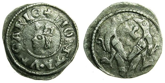 World Coins - HUNGARY.Stephen V AD 1270-1272.AR.Dinar.~#~.Hebrew letter Alef.
