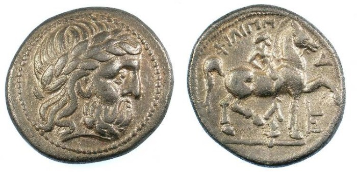 Ancient Coins - CELTIC.Danube Region. AR.Tetradrachm imitating Philip II of Macedon ;Amphipolis mint.