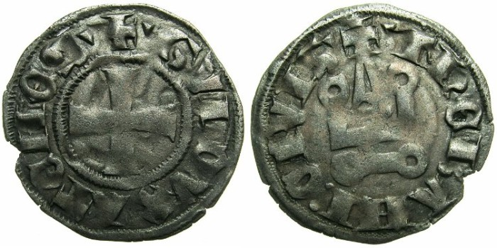 World Coins - CRUSADER STATES.GREECE.Dukes of ATHENS.Guy II of la Roche AD 1287-1308.Bi.Denier.Type 1f.-triangle stops.