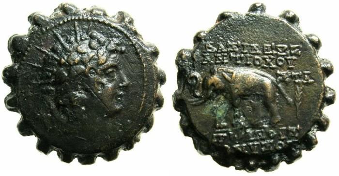 Ancient Coins - SELEUCID EMPIRE.Antiochus VI 144-142/1 BC.AE.22~~~.Antiochus,Radiate bust .~#~Elephant