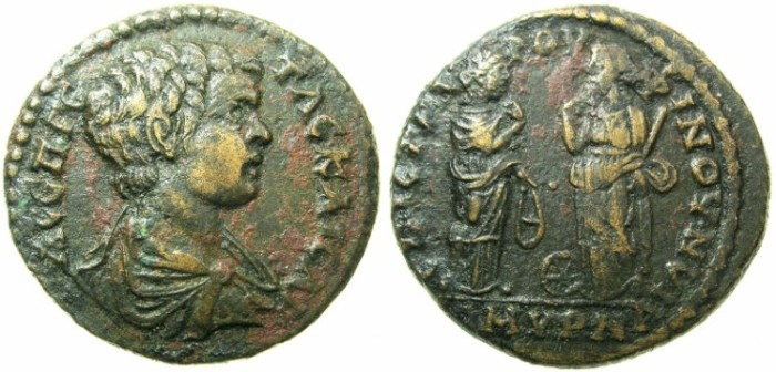Ancient Coins - IONIA.SMYRNA.Geta as Caesar AD 198-209.AE.225mm.issued by Stradigos ( General ) C.L.Rufinus Sophistes.
