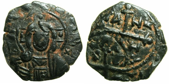 Ancient Coins - CRUSADER.Principality of ANTIOCH.Tancred AD 1104-1112.AE.Follis.Facing bust of CHRIST.