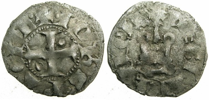 Ancient Coins - CRUSADER.GREECE.ACHAIA.John of Gravina AD 1322-1333.Billon Denier.Type C.