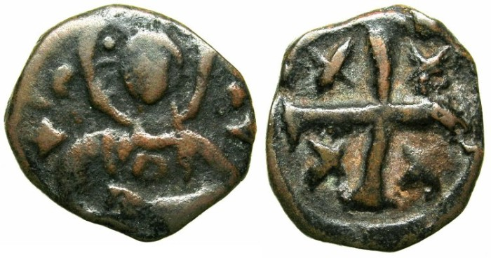 Ancient Coins - CRUSADER.Counts of EDESSA.Regency of Joscelin I or II circa AD 1199-1144.Anonymous issue.AE.Follis.Facing bust of christ.Cross of Jerusalem.~~~EX SLOCUM and  MABBOT COLLECTIONS~~~