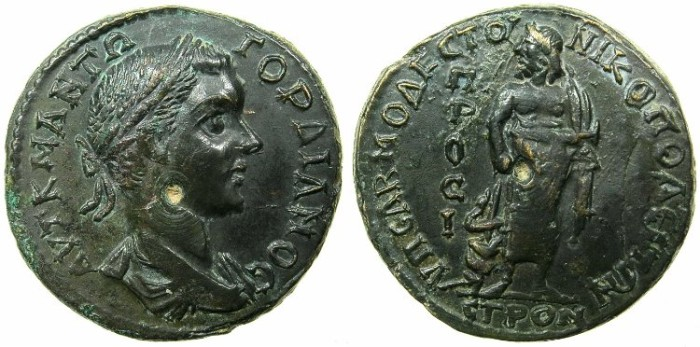 Ancient Coins - MOESIA INFERIOR.NIKOPOLIS AD ISTRUM.Gordian III AD 238-244.AE.26mm.~#~.Asklepios standing.