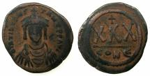 Ancient Coins - BYZANTINE EMPIRE.Tiberius II Constantine AD 578-582.AE. 3/4 Follis. Mint of CONSTANTINOPLE.
