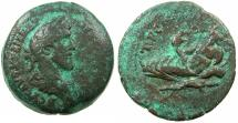 Ancient Coins - EGYPT.ALEXANDRIA.Antoninus Pius AD 138-161.AE.Drachma, struck AD 149/50.~#~.Nilus reclining on Crocodile.