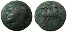 Ancient Coins - SICILY.SYRACUSE.Hieron II 275-216 BC.AE.26.8mm.~~~.Scarcer laurate head type.