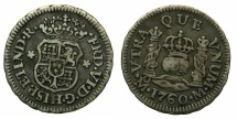 World Coins - SPAIN.Ferdinand VI 1746-1759.AR.Half Real 1760.Mint of MEXICO.****Rare posthumous issue****