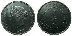World Coins - CYPRUS.Bristish Administration.Victoria 1837-1901.AE.1/2 Piastre 1879.