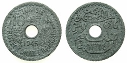 World Coins - TUNISIA.Mohammad al-Amin beg 1361-1376 ( AD 1943-1957).Zinc. 10 Centimes 1364H ( AD 1945 ).