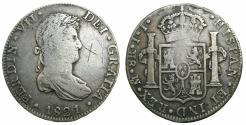 World Coins - MEXICO, under SPAIN.Ferdinad VII 1808-1833.AR.8 Reales 1821 Mo JJ. Last Royal Spanish coin for MEXICO.