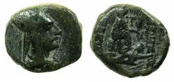 Ancient Coins - ARMENIA.ARTAXIADS.Tigranes II The Great  95-56 BC.AE.18.5mm.Mint of Tigranocerta.~#~.Tyche seated right, swimmer below.