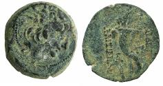 Ancient Coins - SELEUCID EMPIRE.Alexander II 128-123 BC.AE.22mm. Mint of ANTIOCH.Radiate bust of Alexander.~#~.Double cornucopiae.