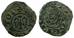 World Coins - ITALY.SICILY.Henry VI AD 1194-1197.AE.Denaro joint issue with Frederick AD 1196-1197.Mint of Messina or Palermo.