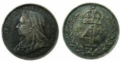 World Coins - ENGLAND.Victoria 1837-1901.AR.Fourpence.1900. Maundly.