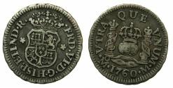 World Coins - SPAIN.Ferdinand VI 1746-1759.AR.Half Real 1760.Mint of MEXICO.****Rare posthumous issue****