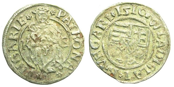 Ancient Coins - HUNGARY.Wladislaw II AD 1490-1516.AR.Denar 1510.Kremnitz  mint.