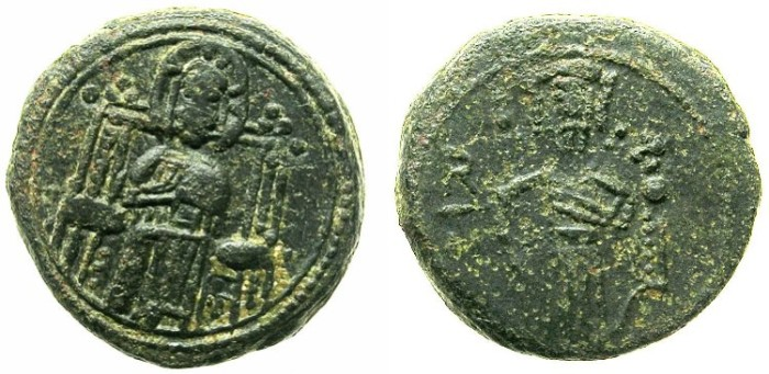 Ancient Coins - ITALY.SICILY.Count Roger II AD 1105-1130.AE.Follaro.Christ enthroned.Roger standing.