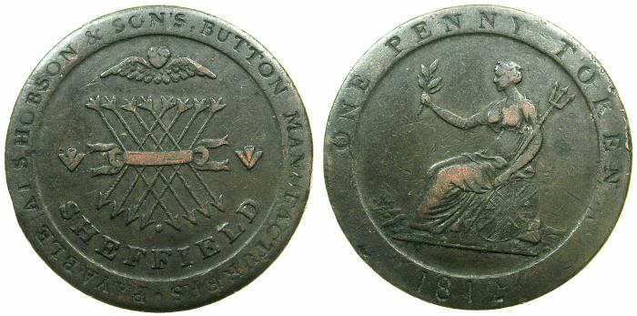 World Coins - ENGLAND.SHEFFIELD.S.Hobson and Sons, Button manufturers AE.Penny Token 1812.