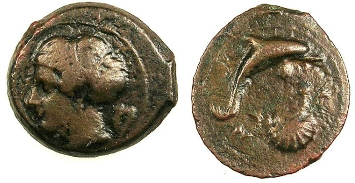 Ancient Coins - SICILY.Syracuse.c.425-400 BC.AE.18.Arethusa-Artemis.Rev.Dolphin and scallop shell