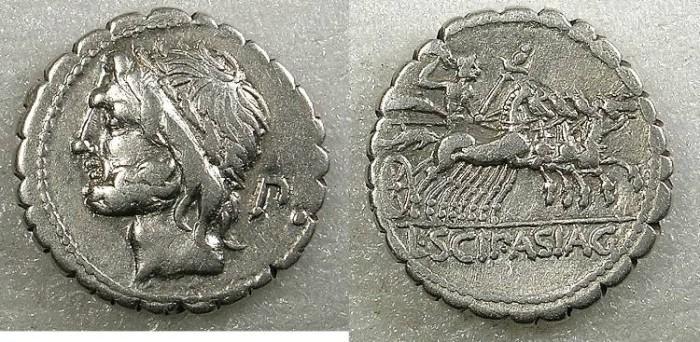 Ancient Coins - ROME Republic L.Cornelius Scipio Asiaticus 106 BC AR.Denarius Serratus