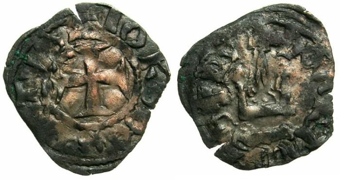 Ancient Coins - CRUSADER STATES.GREECE.EPIRUS.John II OrsiniAD 1323-1335. Bi.Denier.Struckat the castle ARTA.