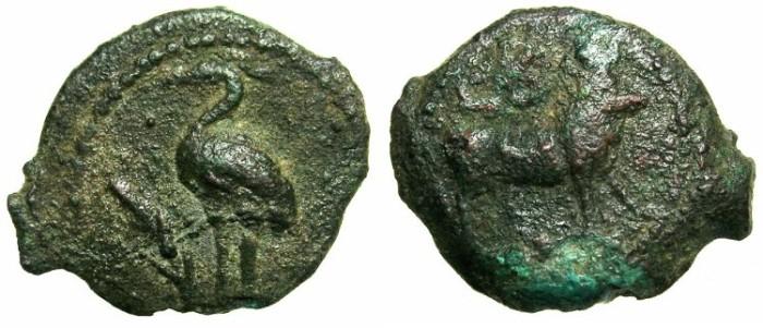 Ancient Coins - EGYPT.Caligula AD 37-41.AE.Dichalkon.Struck AD 37/38.Mint of ALEXANDRIA.~~~Heron.~#~Apis bull.