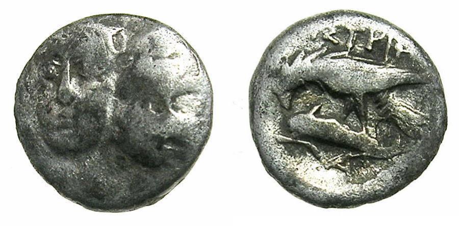 Ancient Coins - MOESIA.ISTRUS.Circa 4th Cent.BC.AR.Trihemiobol.