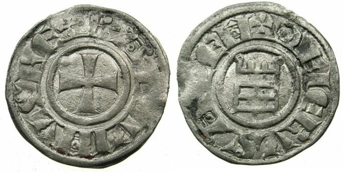 Ancient Coins - CRUSADER STATES.JERUSALEM.Baldwin III AD 1143-1163 or Baldwin II and successors.Billon Denier.Smooth series Group II.